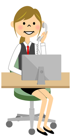 The female of the uniform who calls while operating a PC