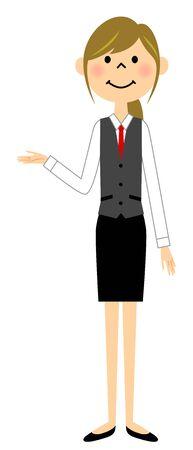 制服を着た女性を説明します。  イラスト・ベクター素材