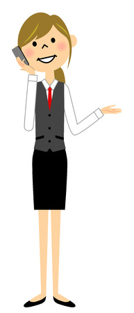 携帯電話と通信する人の制服の女性  イラスト・ベクター素材