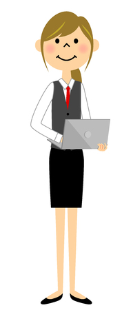 The female of the uniform with a laptop computer