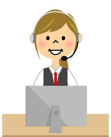 PC を操作しながら連絡を制服の女性  イラスト・ベクター素材