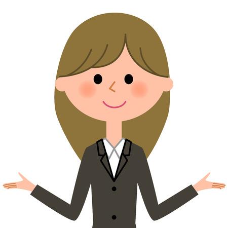 Jeune femme d'affaires, les deux mains sont ouvertes