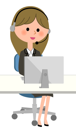 Young businesswoman, Personal computer and handsfree headset