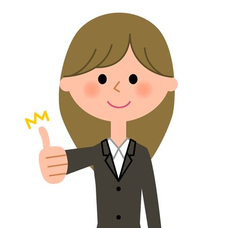alright: Young businesswoman, Thumbs up Illustration