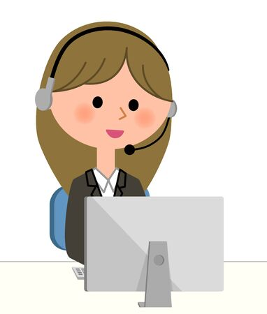 solicitation: Young businesswoman, Personal computer and handsfree headset