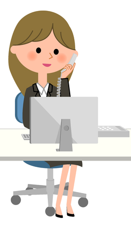 Young businesswoman, Telephone and personal computer