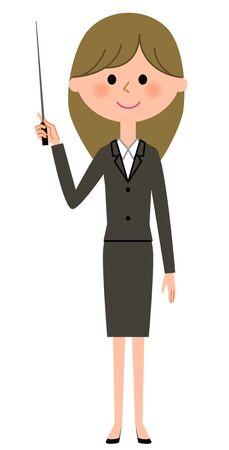 Young businesswoman, Pointer stick Stock Illustratie