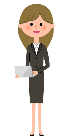 Young businesswoman, Laptop Illustration