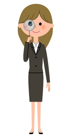Young businesswoman, Magnifying glass
