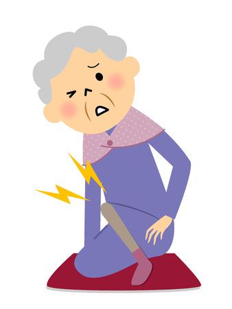 노인 여성, 무릎 통증 스톡 콘텐츠 - 81955915