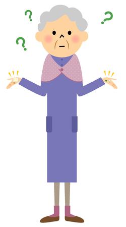 Elderly women, medicine Illustration