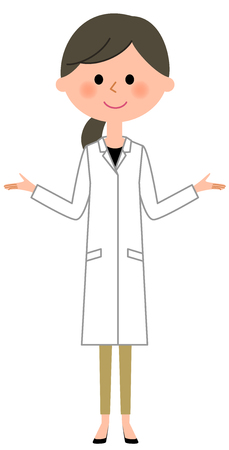 The female of the white coat, Both hands are opened