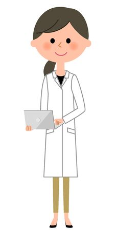 inquiry: The female of the white coat, Laptop