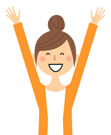 raise hand: Young woman, mama, Give both hands up Illustration