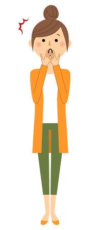 Jonge vrouw, mama, Om verrast te zijn. Vector illustratie. Stock Illustratie
