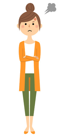 Young woman, mama, Anger. Vector illustration.