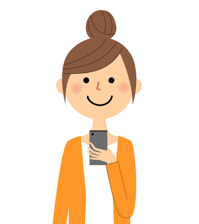 Young woman, mama, Smart phone Illustration