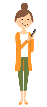 inquiry: Young woman, mama, Smart phone Illustration