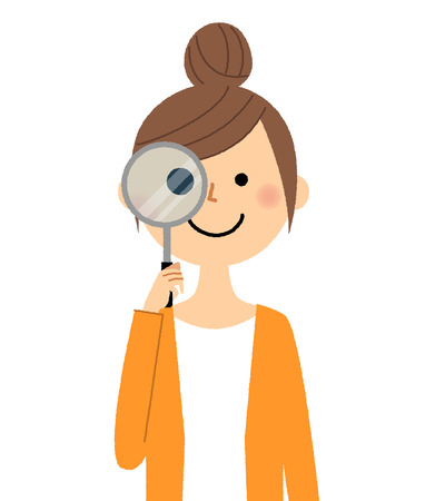 Young woman, mama, Magnifying glass Illustration
