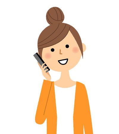 Young woman, mama, Smart phone Vectores