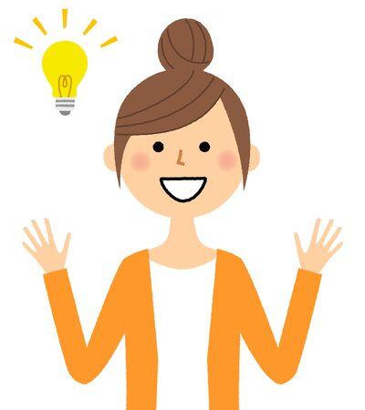 Young woman with bright idea Ilustração