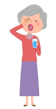 Elderly women who take drugs Illustration