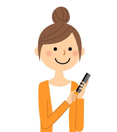 Young woman, mama, Smart phone Illustration