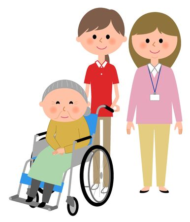 Elderly women sitting in a wheelchair and care giver Ilustração