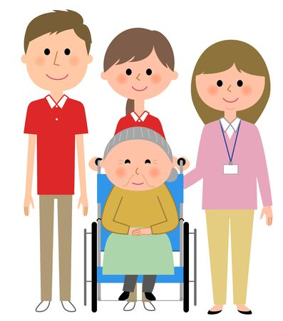 Elderly women sitting in a wheelchair and care giver Illustration