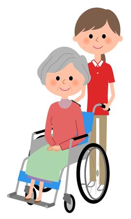 Bejaarde vrouwen die in een rolstoel zitten met zorggever Stock Illustratie