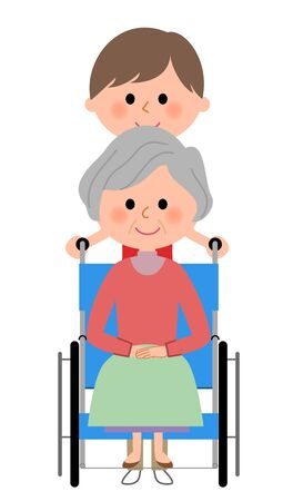 Elderly women sitting in a wheelchair with care giver