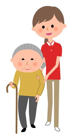 Elderly woman and care giver, Walking aid Illustration