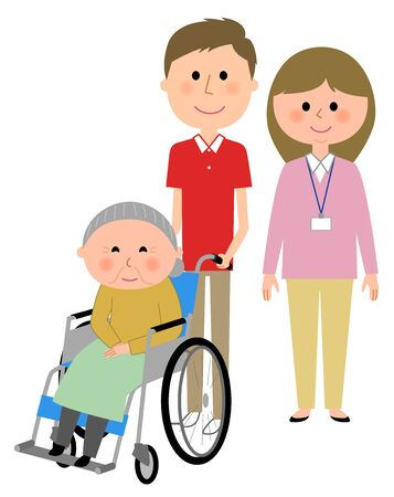 Elderly women sitting in a wheelchair and care giver  イラスト・ベクター素材