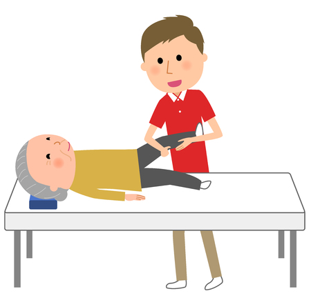 Elderly people receiving rehabilitation from care giver Illustration