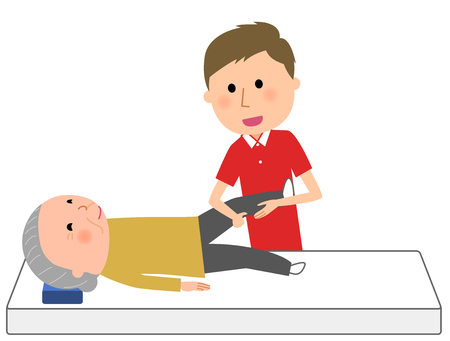 Elderly people receiving rehabilitation from care giver  イラスト・ベクター素材