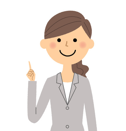Businesswoman, Finger pointing on a simple presentation. Illustration