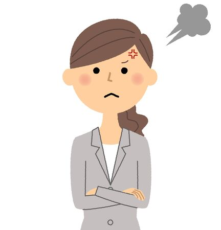 Businesswoman, Anger on a simple presentation. Illustration