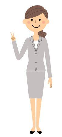 Businesswoman, V sign