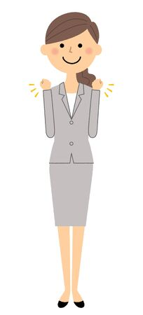 Businesswoman, Victory Pause on a simple presentation. Illustration