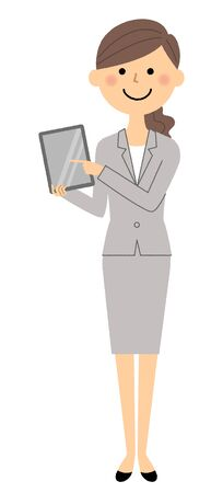 Businesswoman, Tablet vector illustration.