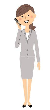 inquiry: Businesswoman on the phone illustration