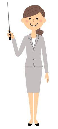 Businesswoman, Pointer stick Illustration