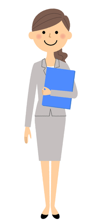 Businesswoman holding files isolated on white background, vector illustration.
