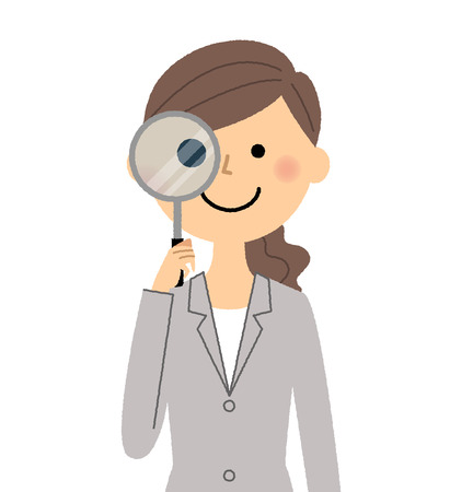 Businesswoman, Magnifying glass Illustration