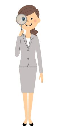 Businesswoman, Magnifying glass vector illustration. Illustration