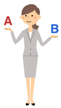 Businesswoman with letters A and B on each hand, Vector illustration.