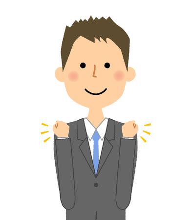 実業家、勝利のポーズ  イラスト・ベクター素材