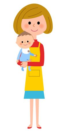 The female of the apron who holds a baby Stock Illustratie