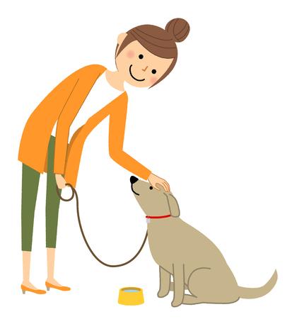 若い女性、ママ、犬と散歩  イラスト・ベクター素材