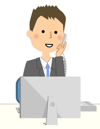 Businessman, Telephone and personal computer Stock Illustratie